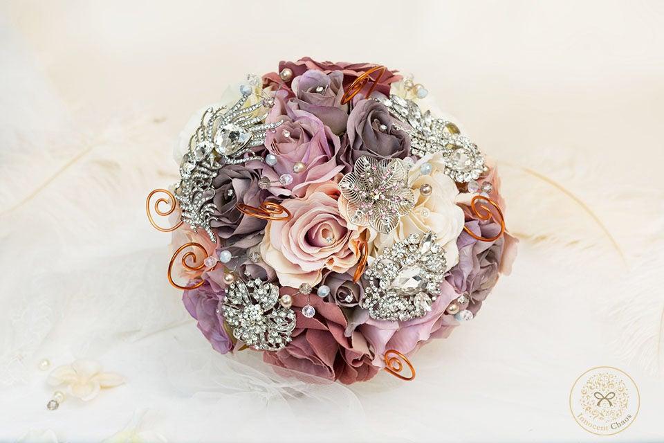 Pink rose bouquet Silk wedding flowers purple bouquet pink bouquet keepsake bouquet dusty pink flowers lilac flowers brooch bouquet