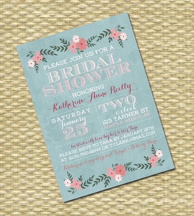 Wedding/Bridal or Baby Shower Invitation - Spring Floral Typography ...
