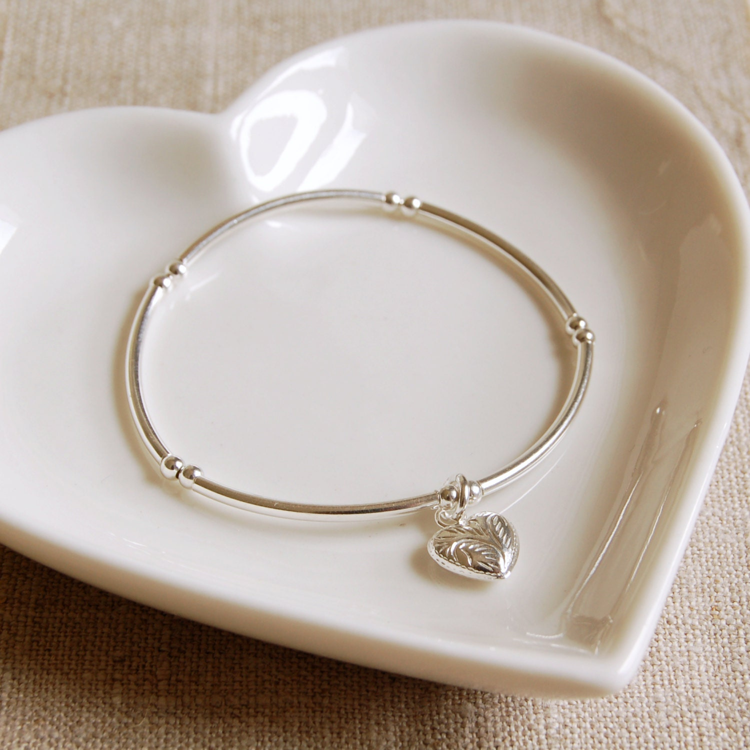 Silver Bead Bracelet with Patterned Silver Heart Charm (BRA108)  Wedding Anniversary Bridesmaid Birthday Gift