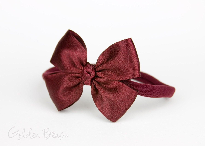 Burgundy Baby Bows Flower Girl Headband Burgundy Like a Butterfly Satin Bow Baby Handmade Headband Baby to Adult Headband