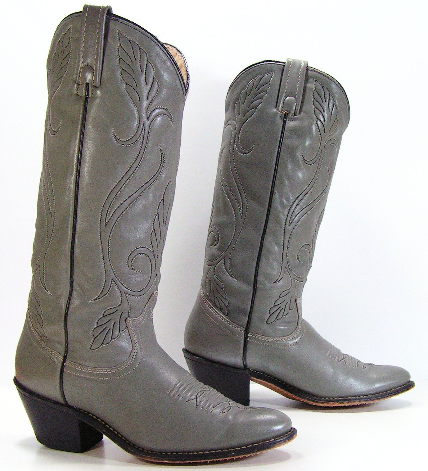 cowboy boots womens 7 5 n gray western by vintagecowboyboots