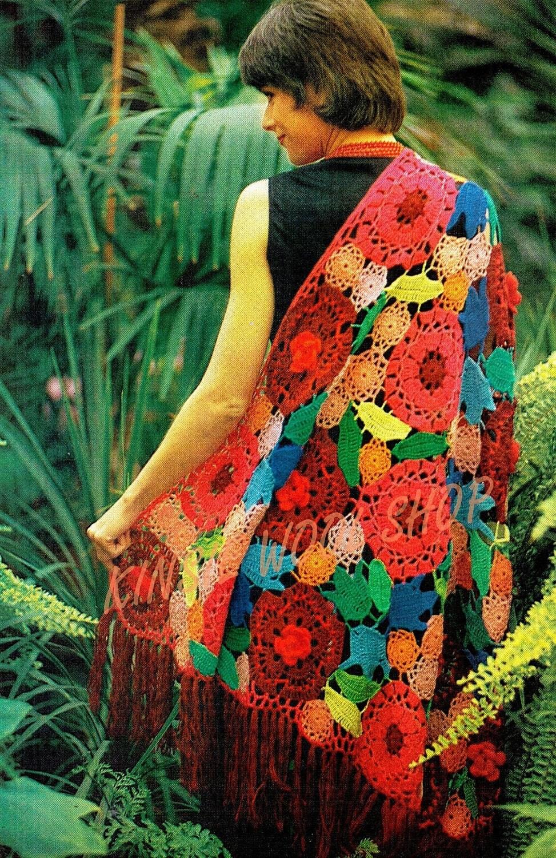 Crochet Patterns For Shawls Vintage : Vintage 70s FLORAL Shawl PDF PATTERN Retro by KinsieWoolShop