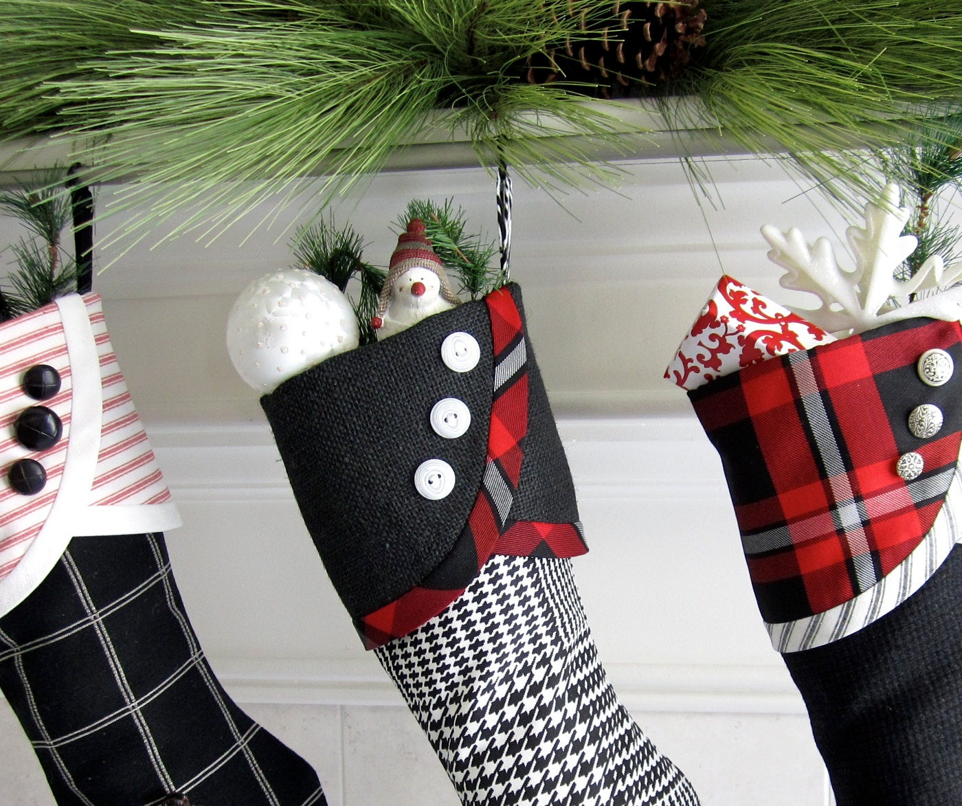 No. 2 Christmas Stocking Black & White and a little Red - Droopy Toe Style