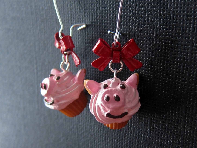 Piggy Cupcake Earrings - Obyhoyee