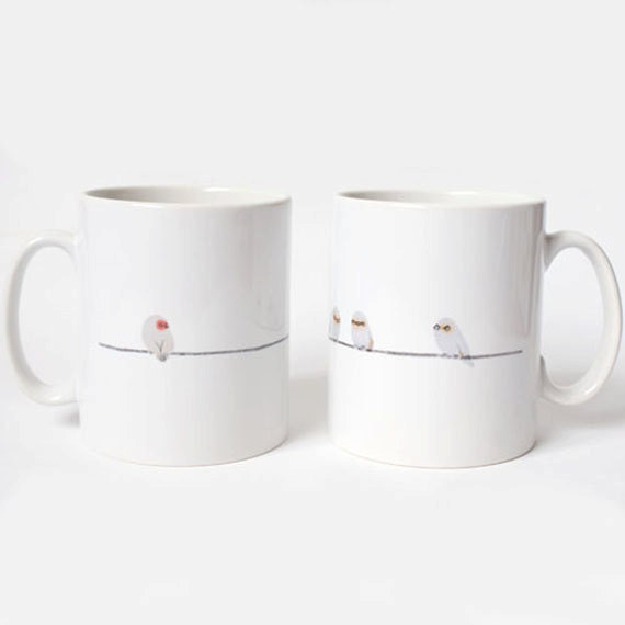 Birds on a wire mug cup gift - joclarkdesign