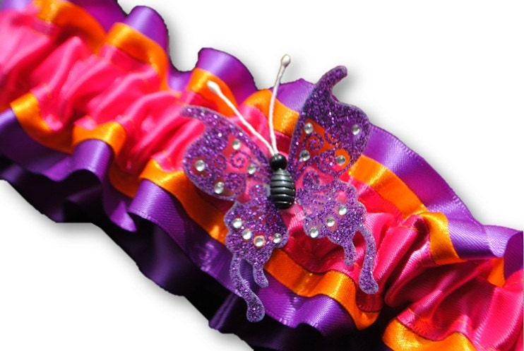 Wedding Garter set , beautiful purple, orange and hot pink Butterfly garter set