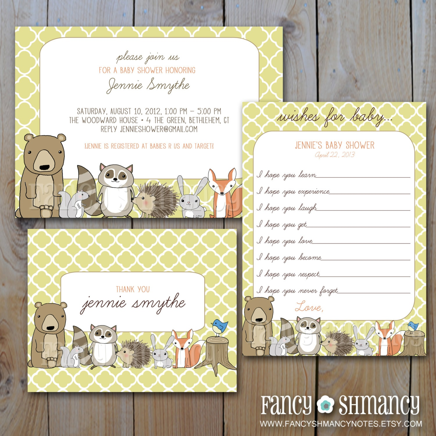 woodland critters baby shower set printable forest animals shower