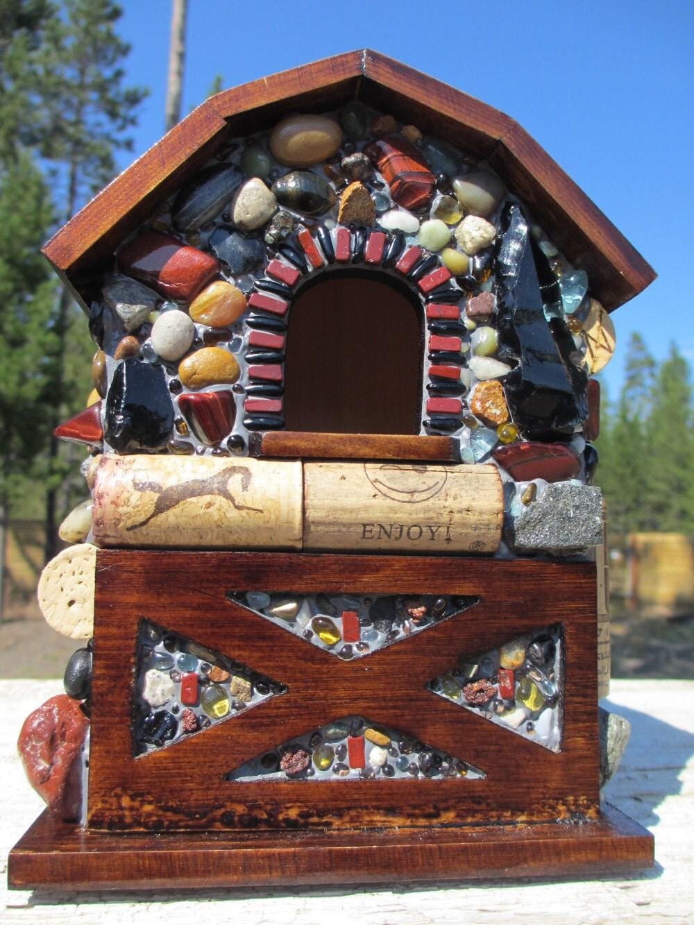 Obsidian Mosaic Birdhouse with an Arrowhead and Wine Corks
