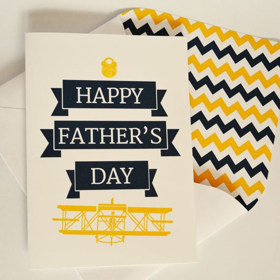Greeting card, Father's Day, Navy, Gold, Airplane