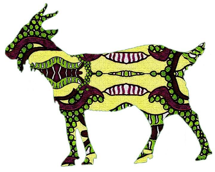 Capricorn Goat Art  Horned Goat Painting  Goat Painting  Modern Goat    Capricorn Goat Art