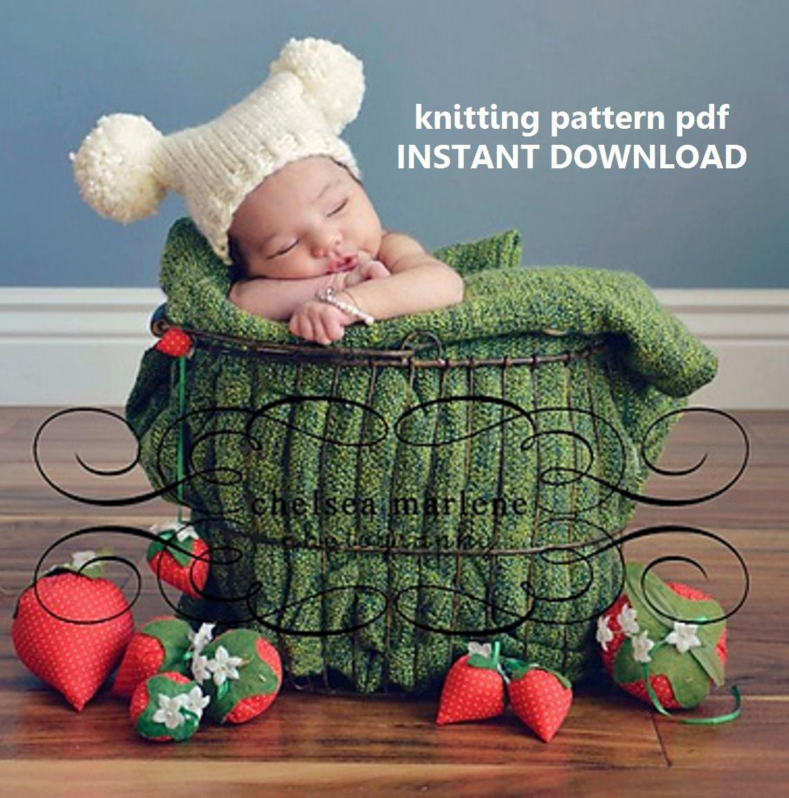 Chunky Jester Pompom Baby Hat Knitting Pattern PDF 110 by 4aSong