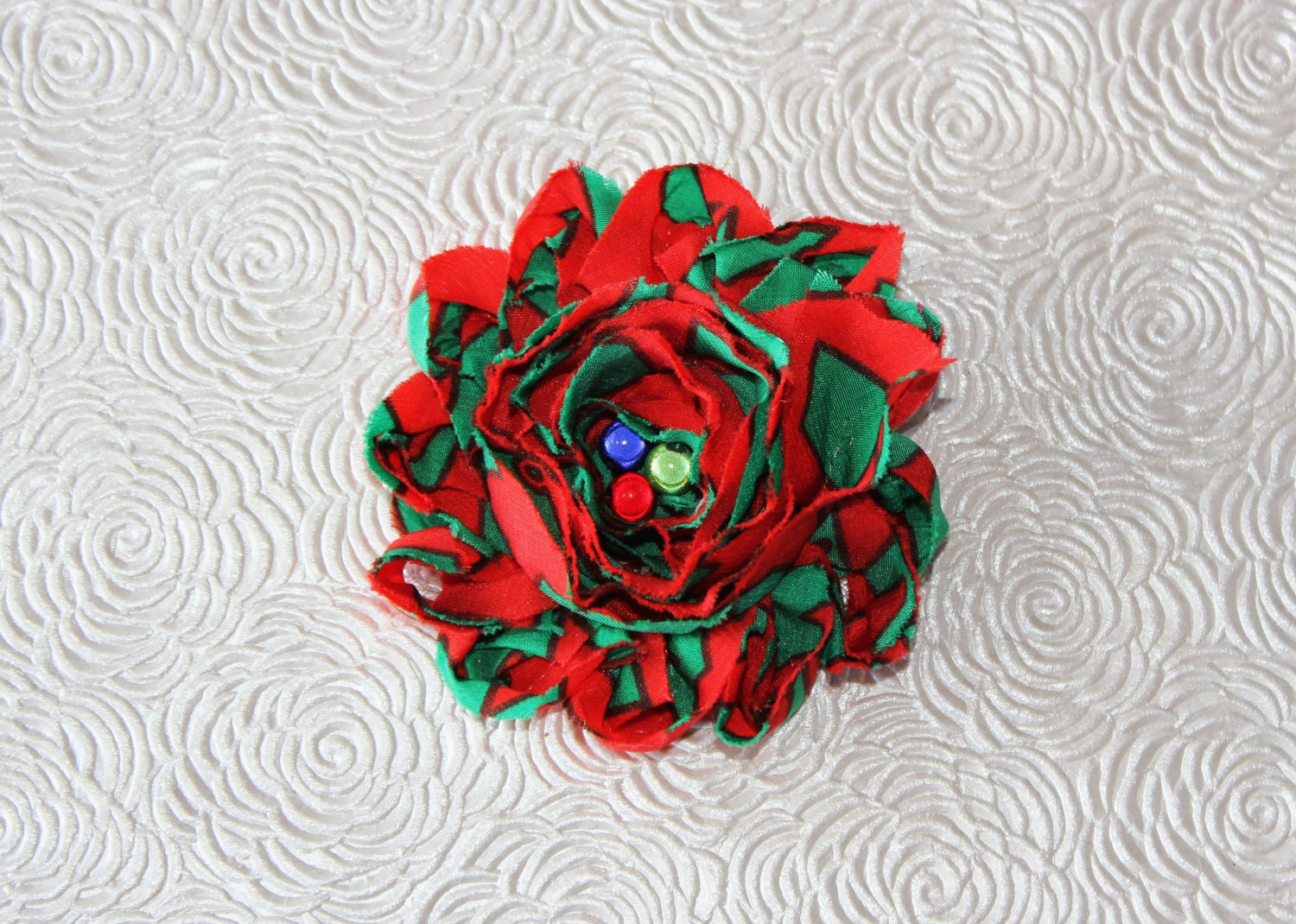 Red and Green Christmas Shabby Chiffon Newborn headband,Baby Headband,Toddler Hair Clip,Girls Hair Clip,Teen and Adult Hair Clip,Photo Prop! - CappyClips