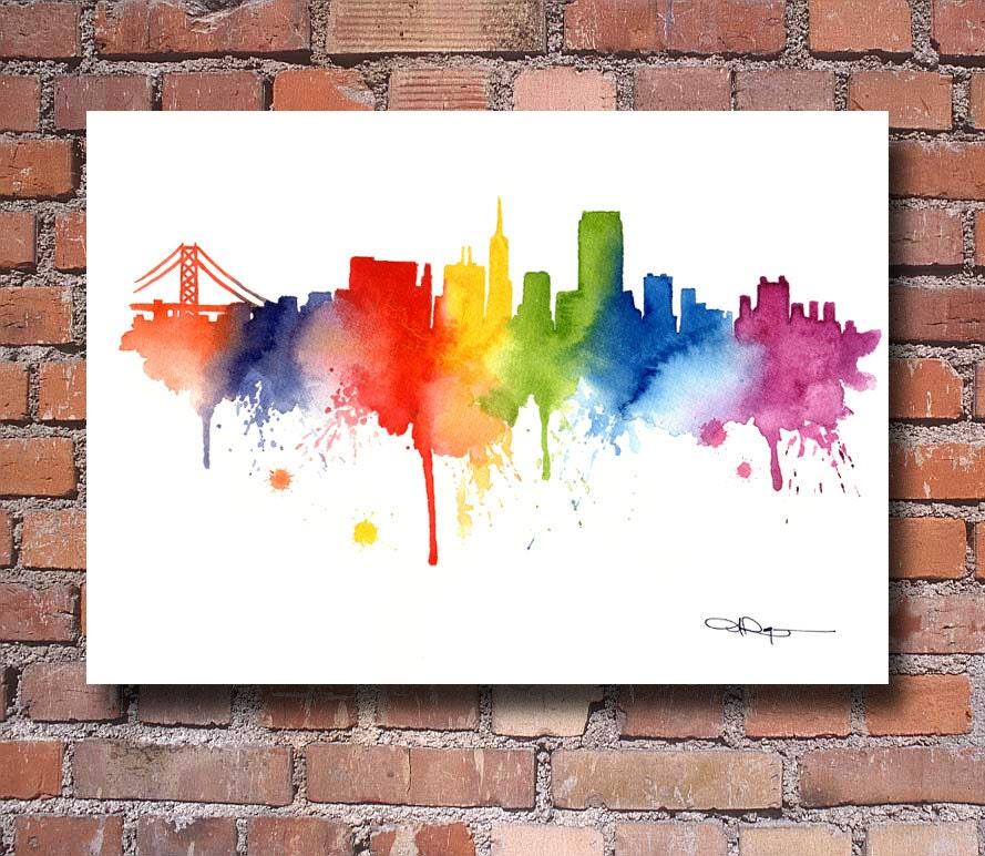 San Francisco Skyline Watercolor Art Print Wall By