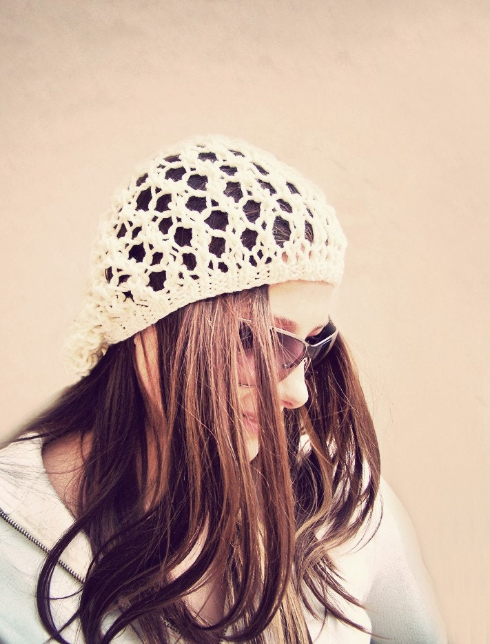 Slouchy Hat in Pastel Cream White, Spring Hat, Fishnet Beanie, Summer Fashion, Eco-Friendly
