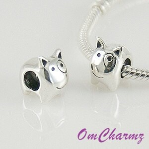 solid 925ss bull terrier european bead charm fit by