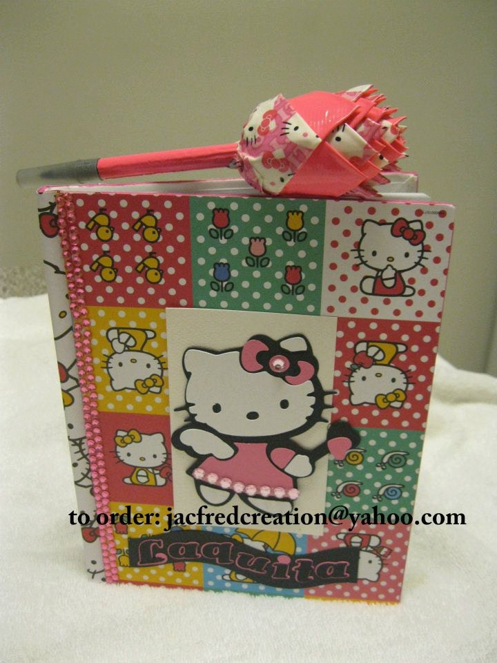 Hello Kitty Journal and Duct Tape Rose pen Set (sold without pen too) Other designs available too