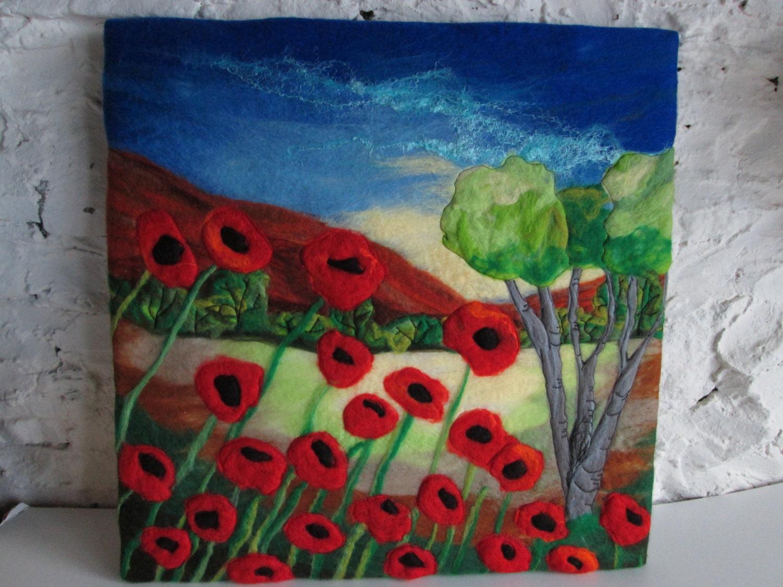 felt art picture, poppy flower landscape - SueForeyfibreart