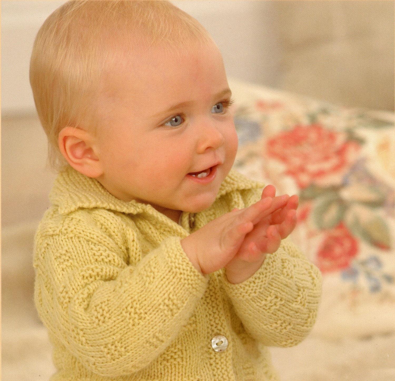 Baby and Child Jacket Knitting Pattern Cardigan Birth to 6 years DK yarn