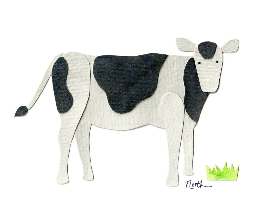 Curious COW Watercolor Print 5x7 Cow decor by AppleSproutStudios