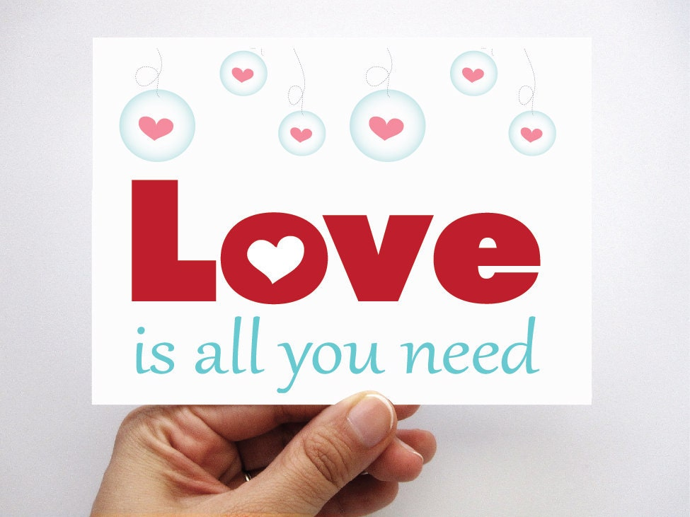 MOVING SALE Set of 6 Love is all you need cards