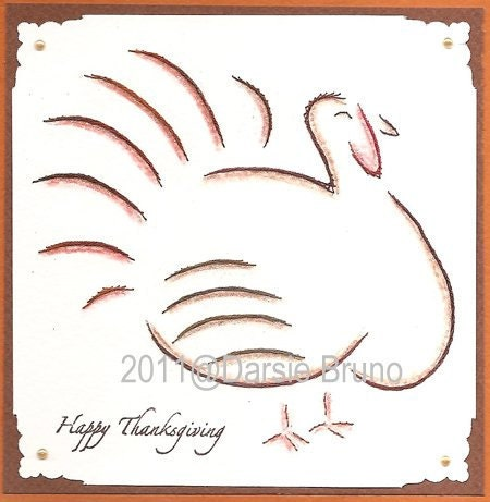 Turkey Thanksgiving Paper Embroidery Pattern For Greeting By Darse