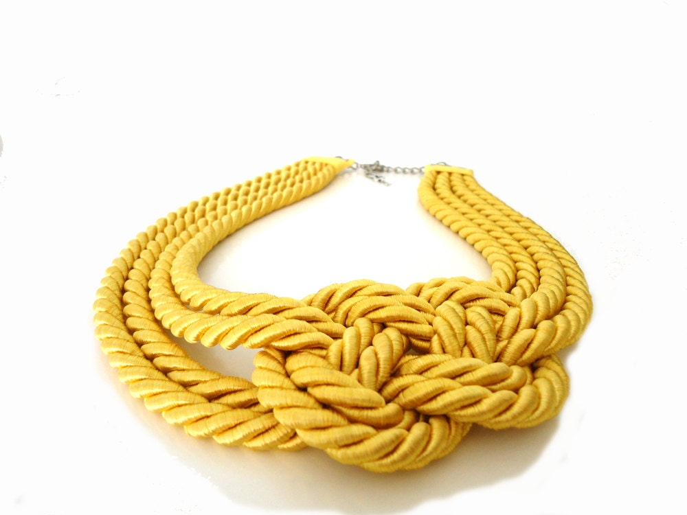 Yellow Nautical  Knot Rope Infinity Statement Necklace