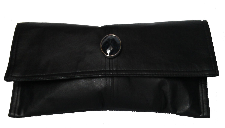 Black Widow Bejeweled Black Faux Leather Clutch