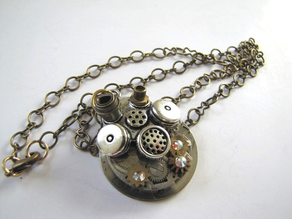 "Steampunk No. 155 Gas Mask on Movement Necklace with Swarovski Crystals 20"" Chain - SteampunkPerceptions"