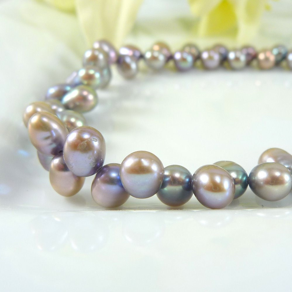 Freshwater Pearl Necklace - Blue Gray Pearls with Pink Overtones, Silver - personaloasis
