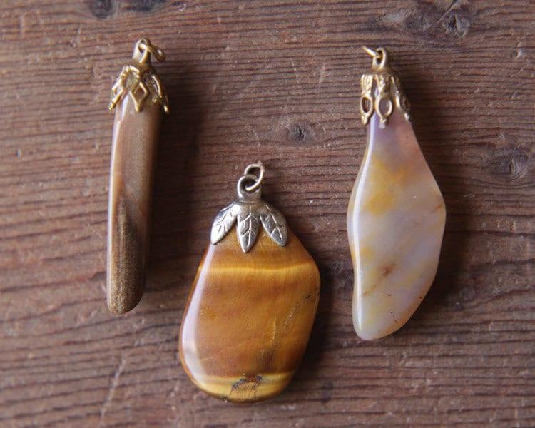 Vintage Polished Stone Pendants - Rustic Rocks, Warm Autumn Tones - smilemercantile