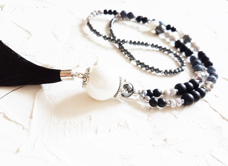 Long necklace Black necklace White necklace Silk tassel necklace Agate necklace Black onyx necklace Elegant necklace Black and white