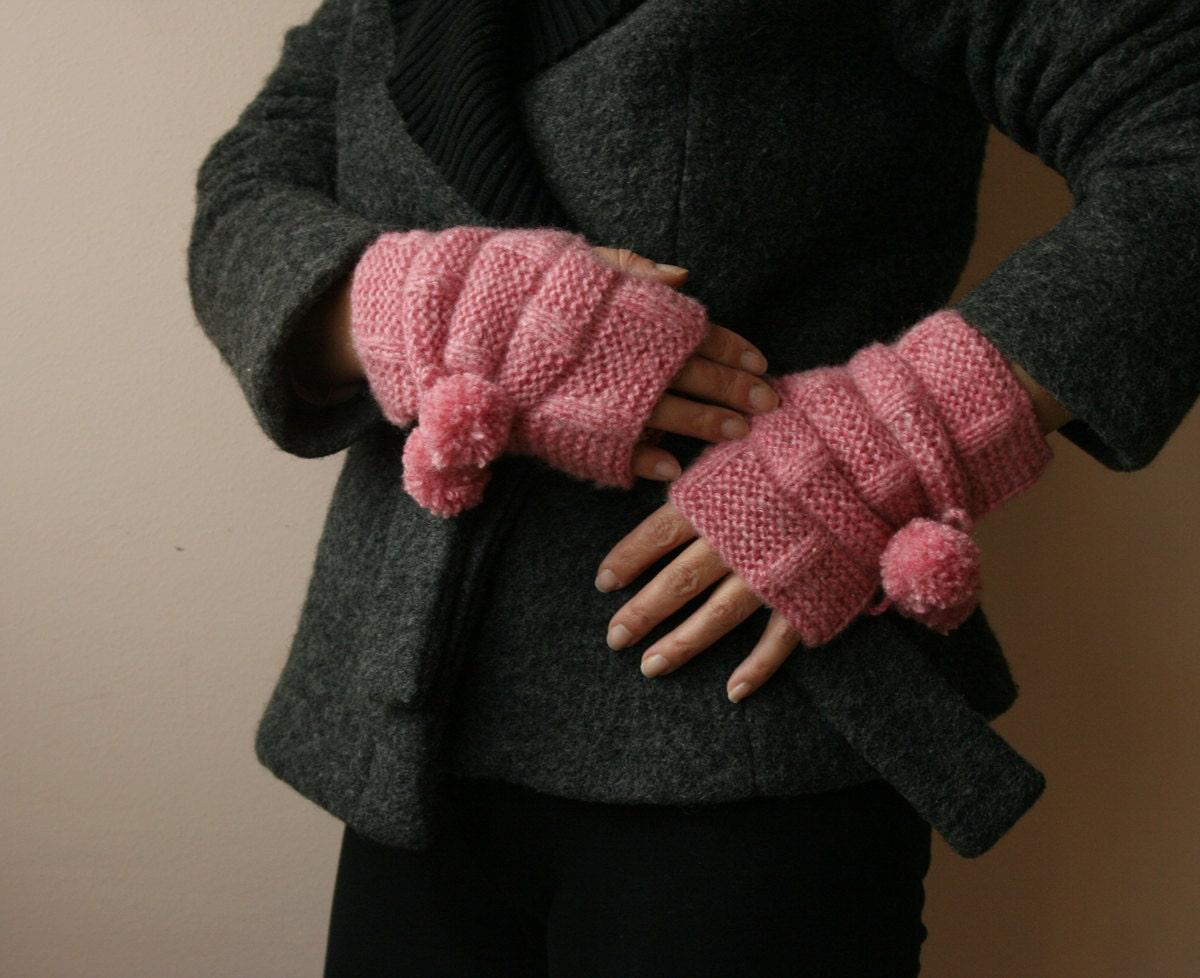 دست زنان کشباف دستکش fingerless - منگوله زدن به ، زمستان ، صورتی ، مد