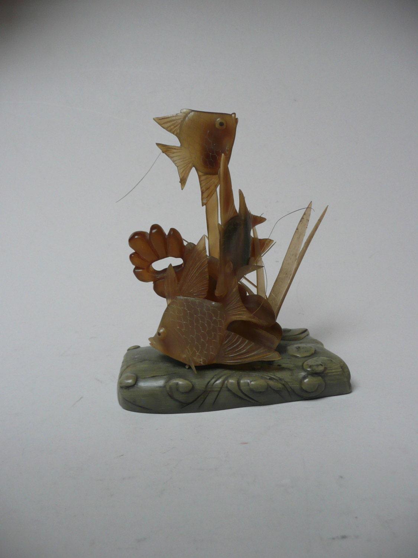 Delightful retro midcentury horn carving of aquarium tropical angel fish tank fish