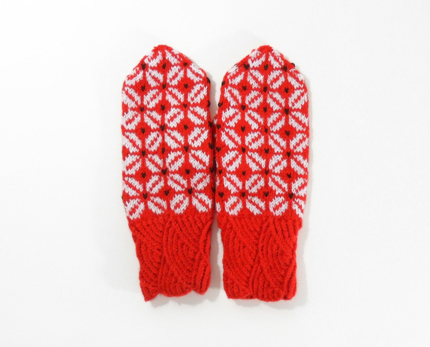 Hand Knitted Mittens - Red and White, Size Extra Large - UnlimitedCraftworks