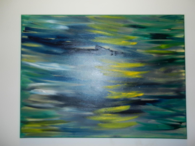 Medium Original Abstract Oil Painting, Yellow green, blue - VSartstudioNY