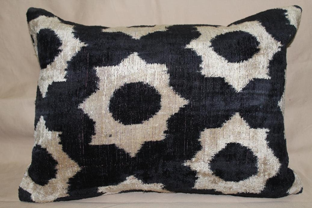 Handmade Silk Velvet Ikat Pillow cover 14 x 20 , Black , Beige Free Shipment Delivered within 2-4 Days by UPS, DHL