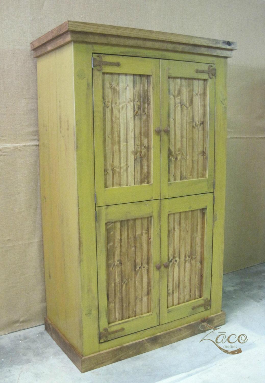 Huge 4 door storage armoire wardrobe in gold by zacocreations for Yellow pine wood doors