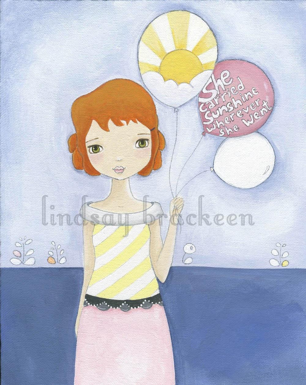 Balloon Redhead Sunshine Girl Print