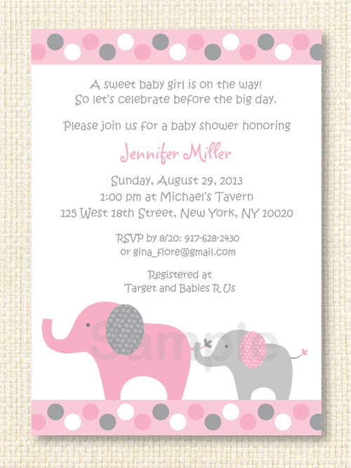 polka dot pink elephant baby shower invitation printable by little