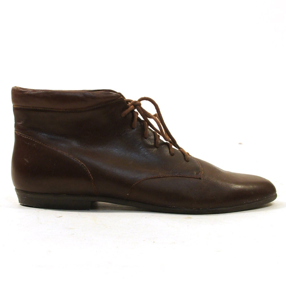 90s lace up ankle boots in brown leather s by