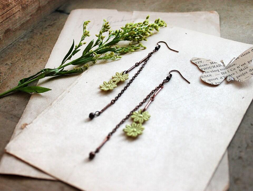 long lace earrings -JOETTA- chartreuse  - flower - dangle - drop earrings -garden wedding - bridesmaid - whiteowl
