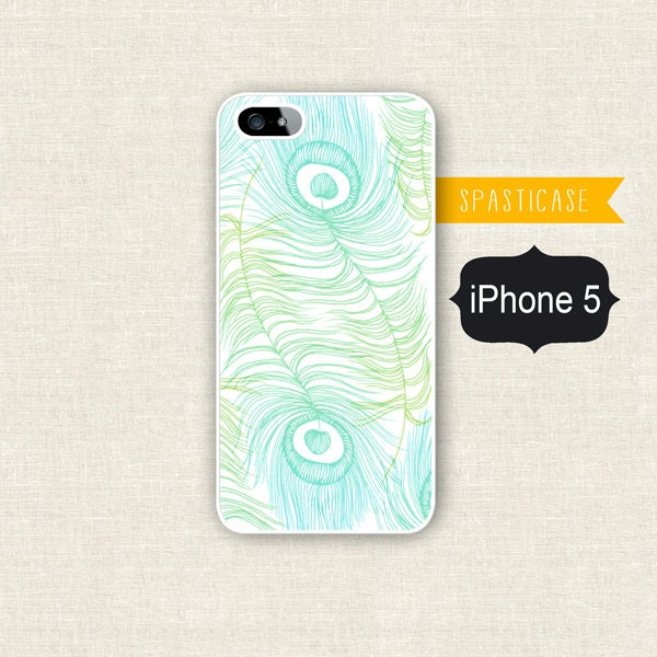 iPhone 5 Case - Peacock Feathers - Plastic or Silicone Rubber iPhone 5 Case - SpastiCase