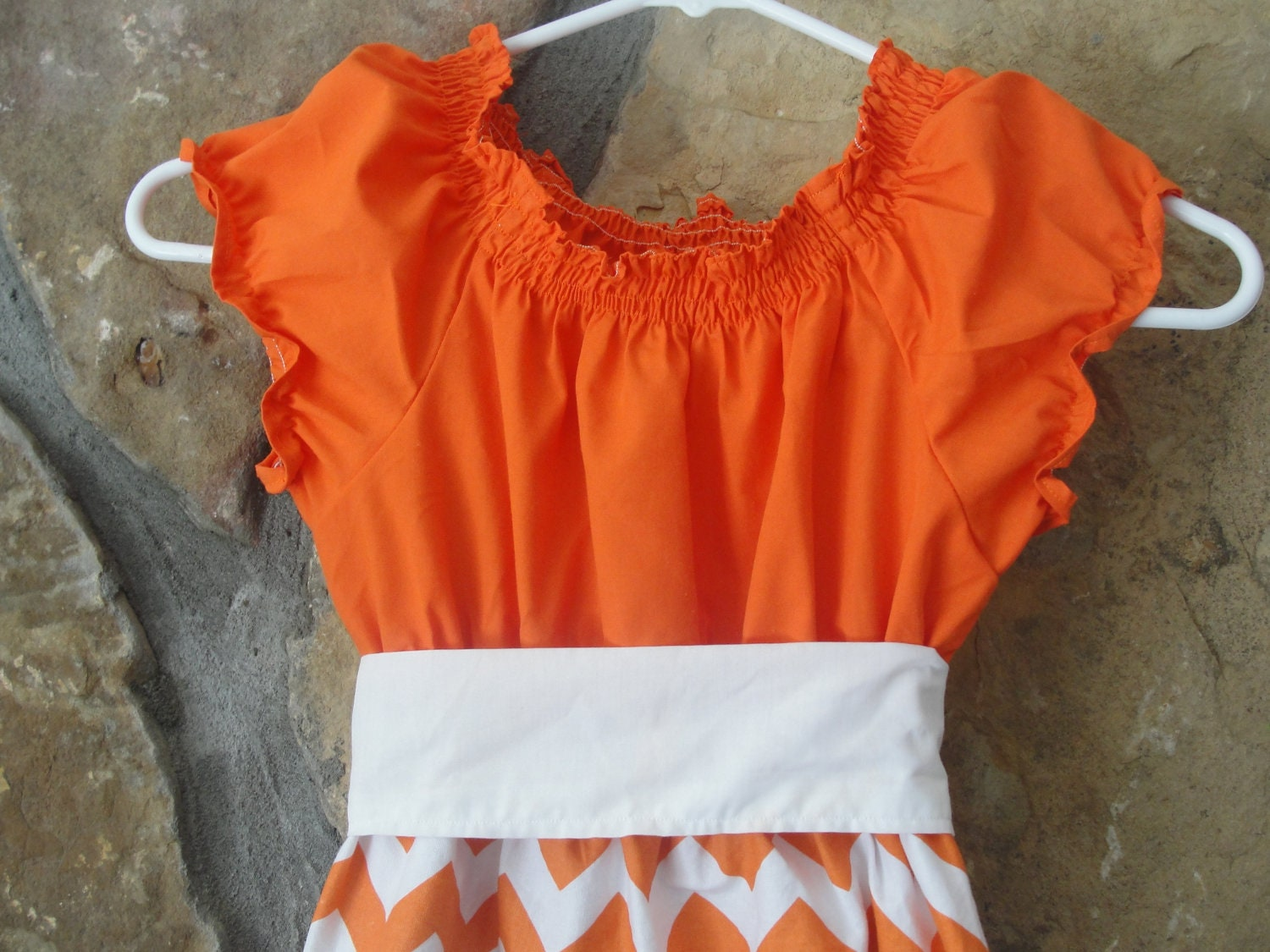 Ladies Orange and White Chevron Peasant Dress - JustSewStinkinCute