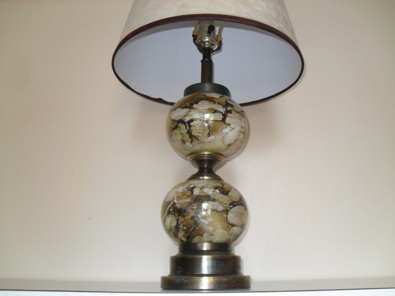 vintage marbleized glass globe 2 ball table lamp with new matching. Black Bedroom Furniture Sets. Home Design Ideas