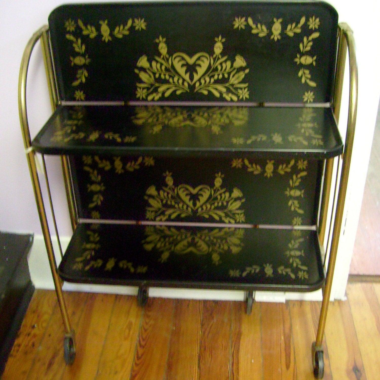 Vintage Folding Metal Cart 2 Shelves Fold N Roll By