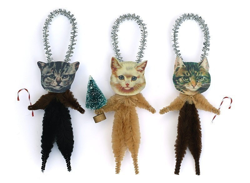 Cat Christmas Tree Ornaments - Stocking Stuffer Under 25 - Pet Lover Hostess Gift - oldworldprimitives