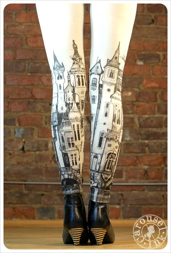 Victorian City Leggings - Womens Off White Legging tights - LARGE Legwear - Carouselink