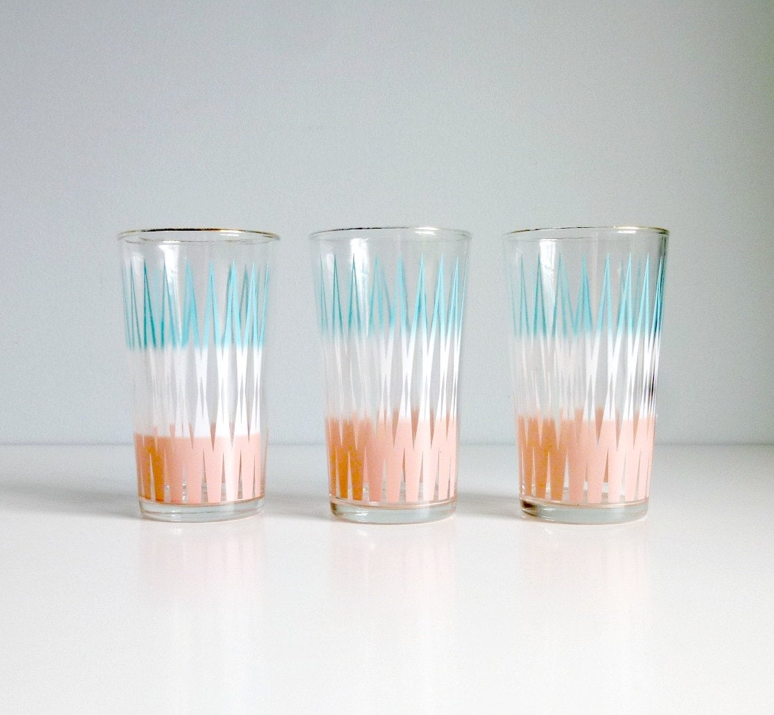 Mid Century Modern Juice Glasses: Atomic, Chevron, Summer Trends - Aqua, Pink, White, Pastel - Glassware - Mad Men, 1950s Home, Kitchen - mungoandmidge
