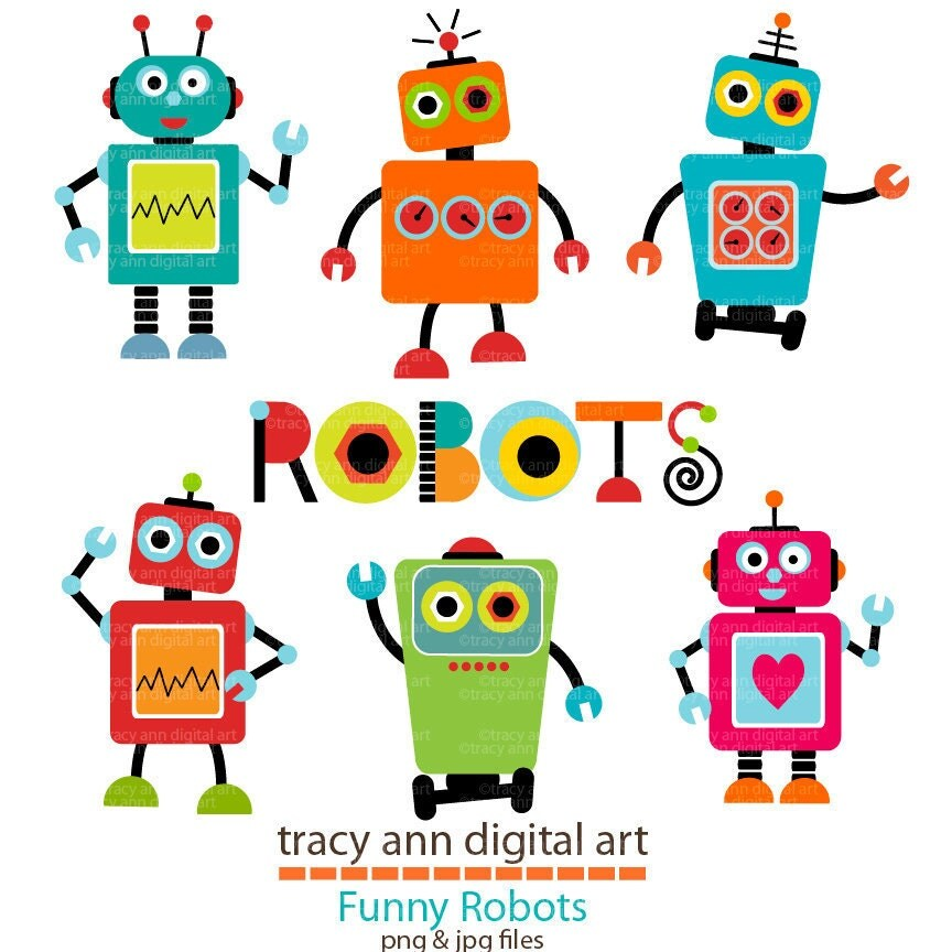 Items similar to robot clip art set 1 on etsy for Art sites like etsy
