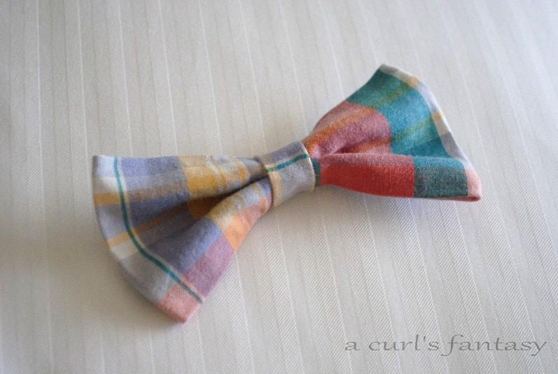 Multi-Colored Plaid Hair Bow - Rainbow Plaid